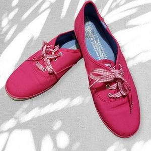Keds Champion hot pink sneakers w plaid laces